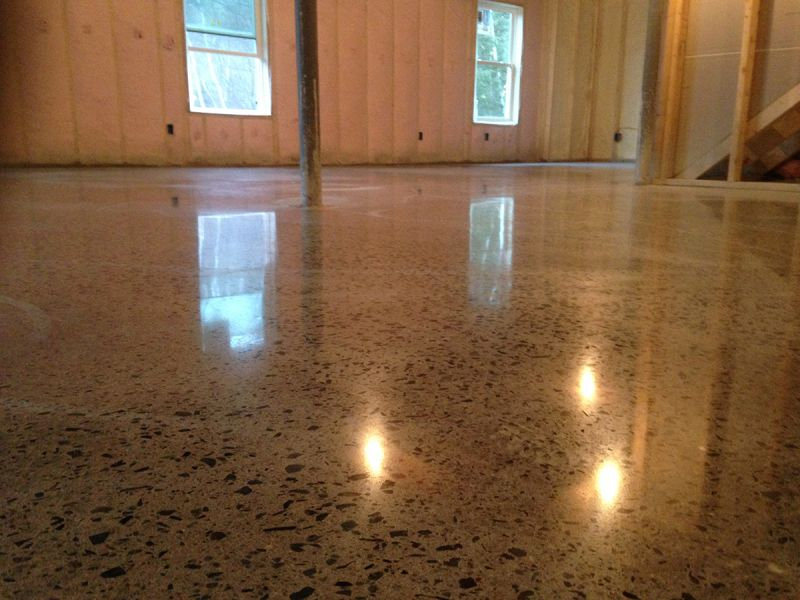 Stained polished concrete basement acid concrete stain i for Stained polished concrete floor